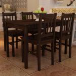 vidaXL Spisebord med 4 stoler brun