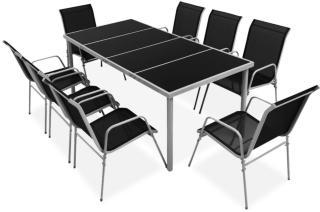 vidaXL Utendørs spisestue 9 deler stål svart