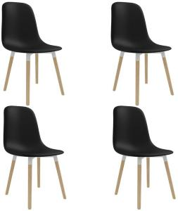 Spisestoler 4 stk svart plast -
