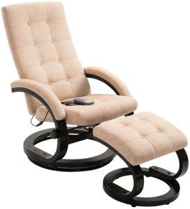Massasjestol i semsket stoff med fotstøtte - Kremhvit