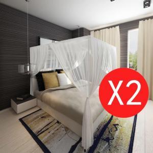vidaXL Myggnetting til seng firkantet med 3 åpninger - 2 stk