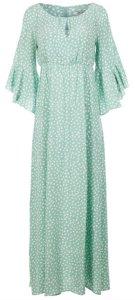 Dry Lake Ambrosia Long Dress - Mint Green Dot Print dame