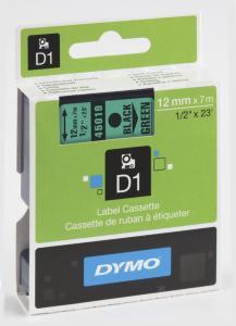 Dymo D1 Tape Sort på Grønn 12mm (7m) S0720590 Y117379 (Kan sendes i brev)