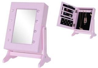 JOX, Furniture, Speil& smykkeoppbevaring med LED-belysning, Rosa