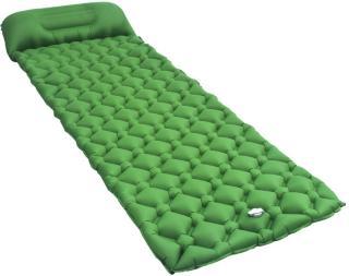vidaXL Oppblåsbar luftmadrass med pute 58x190 cm grønn