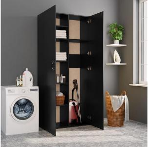 Oppbevaringsskap svart 80x35,5x180 cm sponplate - Svart