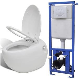 Be Basic Toalett med skjult sisterne veggmontert eggdesign -