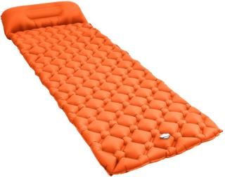 vidaXL Oppblåsbar luftmadrass med pute 58x190 cm oransje