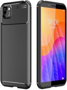 Deksel i Kolfiber-look for Huawei Y5p - Svart