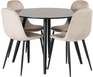 Pelle bord med Pontus stol 4 stk -