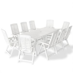 vidaXL Utendørs spisestue 11 deler plast hvit