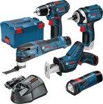 Bosch 12 V batteridrevet GSA + GSR + GOP + GDR + GLI + 3 x 2,0 Ah batterier i L-BOXX