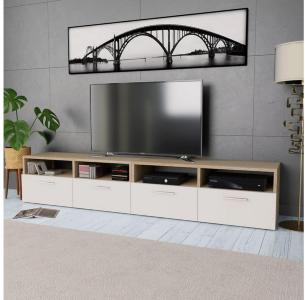 TV-benk 2 stk sponplater 95x35x36 cm eik og hvit -