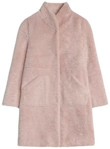 By Malina Pam Faux Fur Coat - Dusty Rose dame
