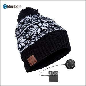 KNIT CAP BT HEADPHONES SNOW PATTERN BLK