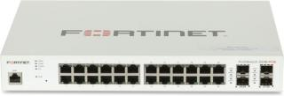 FORTINET L2/L3 PoE+ Switch — 24x GE RJ45 ports including 12x PoE+ ports, 4x GE SFP slots, FortiGate switch controller compatible. (FS-224E-POE)