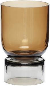 Hübsch Vase Glass Grå/ Ravgul 18 cm