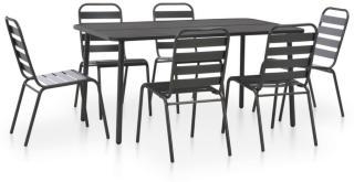 vidaXL Utendørs spisestue 7 stk stål mørkegrå