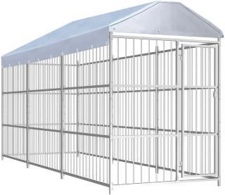 Utendørs hundegård med tak 450x150 cm -
