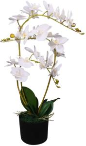vidaXL Kunstig orkidè med potte 65 cm hvit