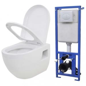 Vegghengt toalett med skjult sisterne keramikk hvit