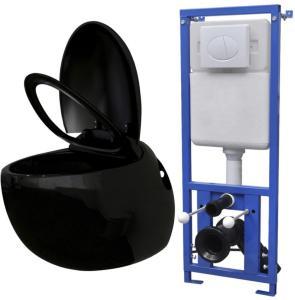 vidaXL Vegghengt toalett med skjult sisterne eggdesign svart
