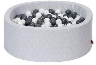 knorr® leker ballbad mykt - Geo terninggrå inkludert 300 baller grå / krem