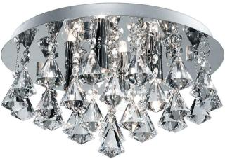 Bathroom Taklampe 4L Flush Pyramid Crystal Drops - Searchlight
