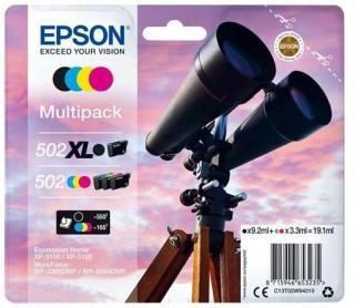 Epson 502XL Multipack - 4 pakker - høj kapacitet - sort gul cyan magenta - original - blækpatron - Blekkpatron Svart C13T02W94020