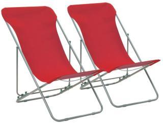 vidaXL Sammenleggbare strandstoler 2 stk stål og oxfordstoff rød