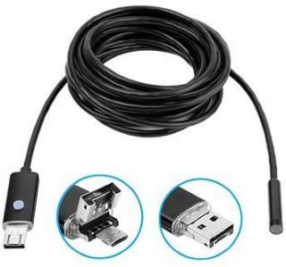 Vanntett 8 mm USB-inspeksjonskamera AN99 til Android og PC - 5 m - Svart
