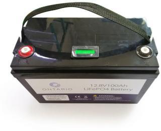 Ontario 12.8V 100Ah LifePO4 lithium batteri (med blåtann) for båt, hytte, campingvogn og bobil (forbruk) (ONT12V100AH)