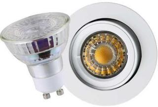 5,5W LED pære med GU10 Armatur Matt hvit, dimbar