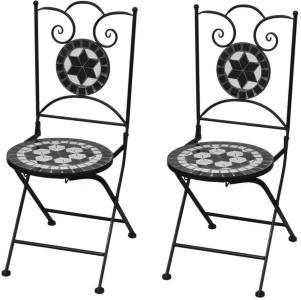 vidaXL Sammenleggbare bistrostoler 2 stk keramikk svart og hvit
