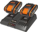 Worx 2 stk. WA3551.1 20V 2.0Ah batteri + WA3869 opplader