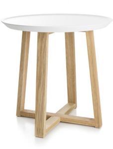 Bord rundt, hvit topp og ben i tre - Ø:38 cm