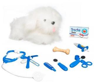 Lekia Interaktiv hund hos veterinær hvit