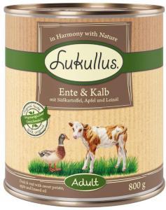 Lukullus And og kalv med søtpotet, eple og linolje 6 x 400 g