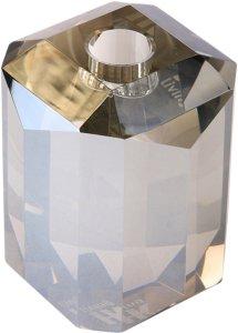 HKliving Lysestake av glass, Crystal grey diamond Unisex Grå