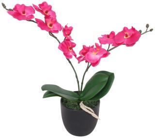 vidaXL Kunstig orkidè med potte 30 cm hvit