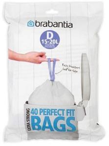 Brabantia Avfallsposer D [Dispenser Pakk med 40 poser] 15 L Hvit