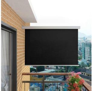 Sidemarkise til balkong multifunksjonell 180x200 cm svart -