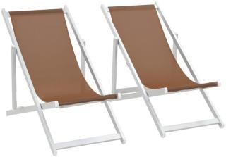 vidaXL Sammenleggbare strandstoler 2 stk aluminium og textilene brun
