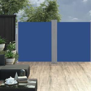 Uttrekkbar sidemarkise dobbel 160x600 cm - blå