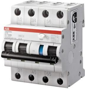 ABB Jordfeilautomat 3p C 32A 30mA DS203NC-C32/0.03 230V ABB 1623962 Jordfeilautomat