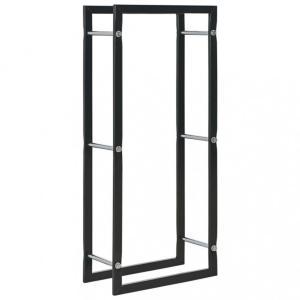 Vedstativ sort 44x20x100 cm stål