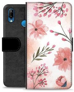 Huawei P20 Lite Premium Lommebok-deksel - Rosa Blomster