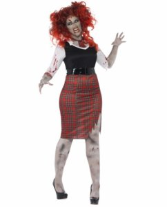 Zombie skolepike kostyme - plus size