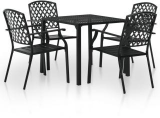 vidaXL Utendørs spisestue 5 deler stål svart