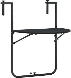 vidaXL Hengende balkongbord svart 60x64x83,5 cm plast rottingutseende